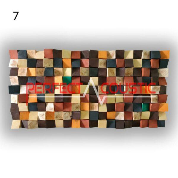 art akusztikai diffúzor 7 színminta, szemből.